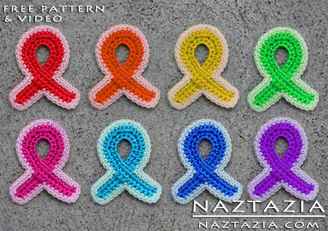FREE Crochet Pattern & Video - Crochet Awareness Ribbon & Ribbons for