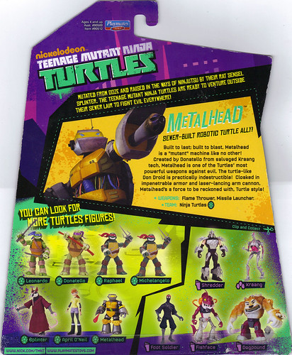 Nickelodeon  TEENAGE MUTANT NINJA TURTLES :: METALHEAD ..card backer (( 2012 ))