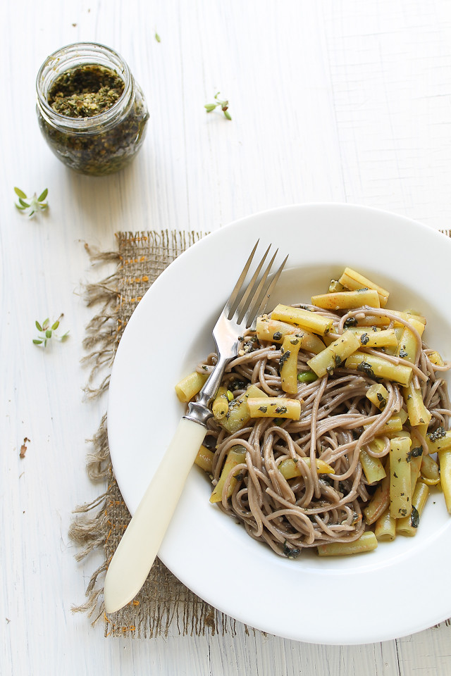 Soba Noodles with Yellow Beans and Mint-Basil-Walnut Pesto