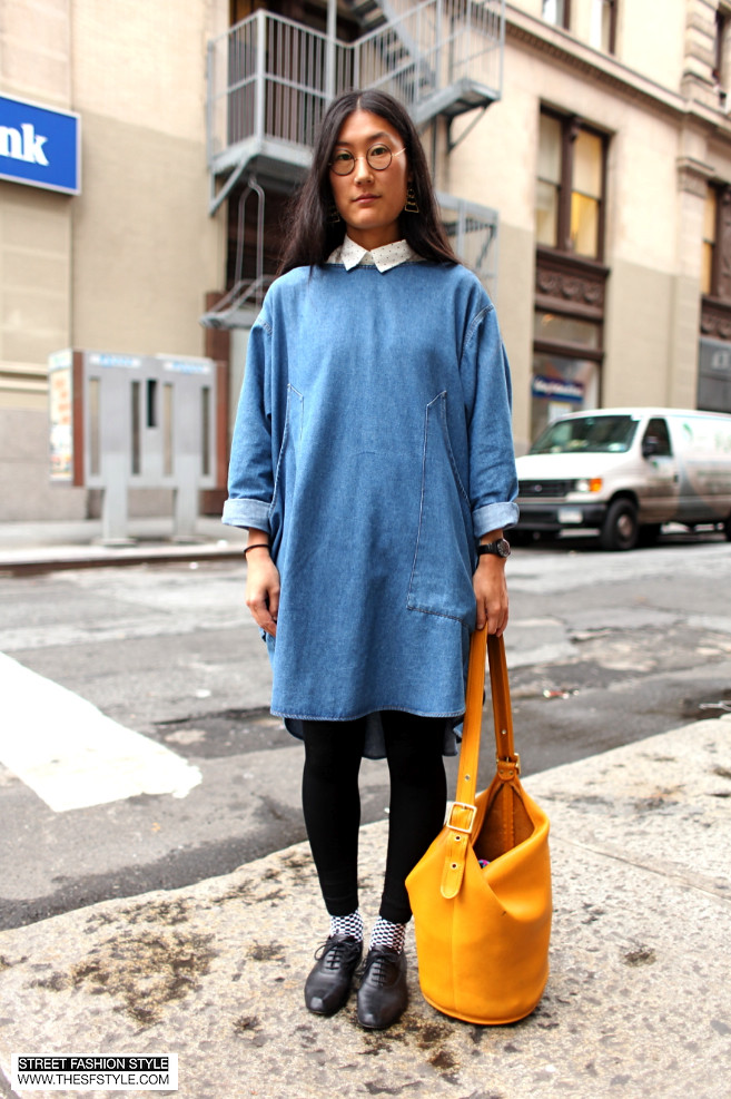 circle glasses, tunic, coach bag, bucket bag, checkered, new york fashion blog, thesfstyle, street fashion style,