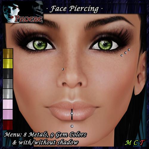 *P* Diamonds Facial Piercing ~8 Metals-9 Gem Colors~
