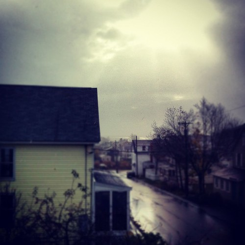 sun on the white-capped ocean swells this morning, raining - my street #maine after #sandy