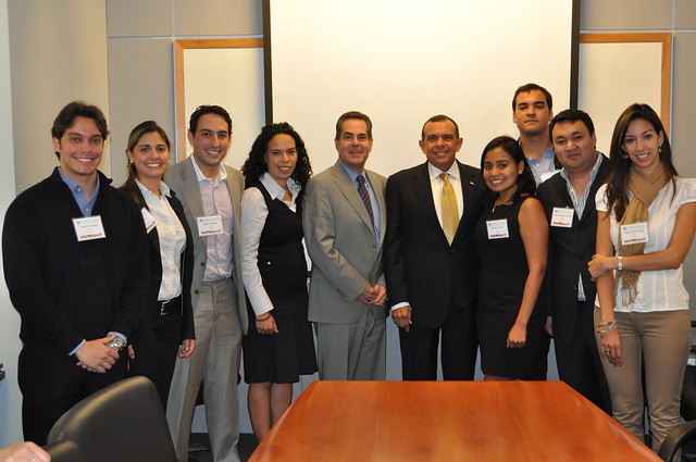 Brandeis IBS' Latin Club met with Honduran President Porfirio Lobo (fifth from right) in 2011.