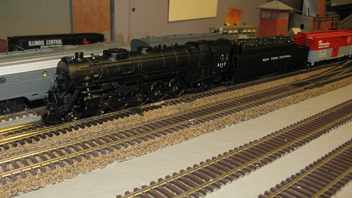 An MTH model of a New York Central Railroad Alco / Lima  4-8-2 Mohawk class steam locomotive. by Eddie from Chicago
