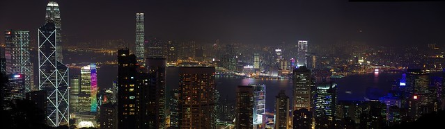 Panorama Hong Kong Skyline at Night viewed from Victoria Peak