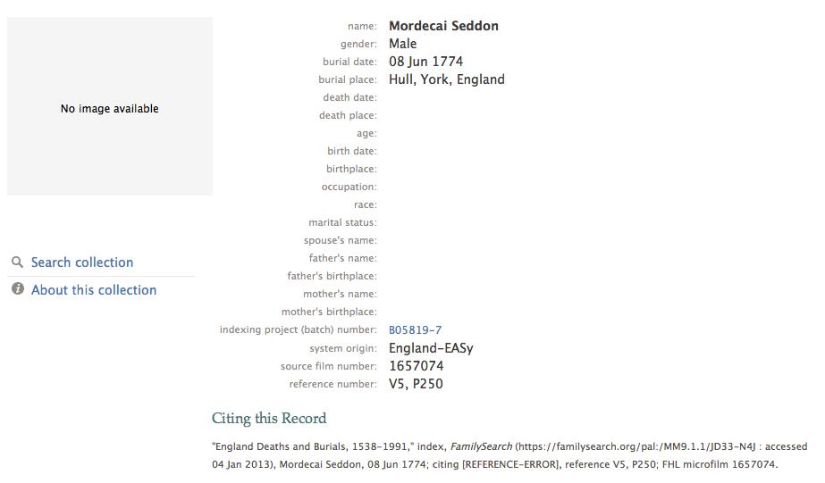 Mordecai Seddon 1774 burial