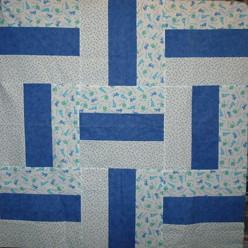 baby boy construction quilt top