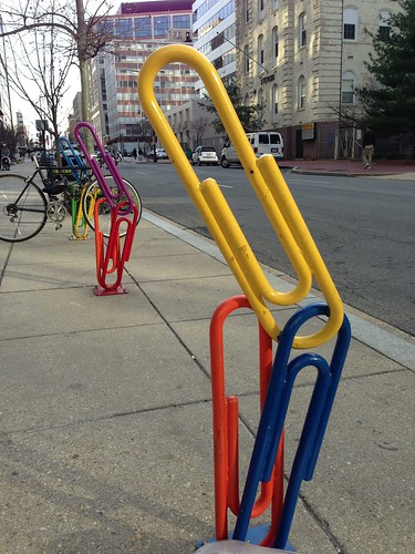 Paper clip bike racks at 21st and L Streets NW, Washington, DC. Photo: jay mallin