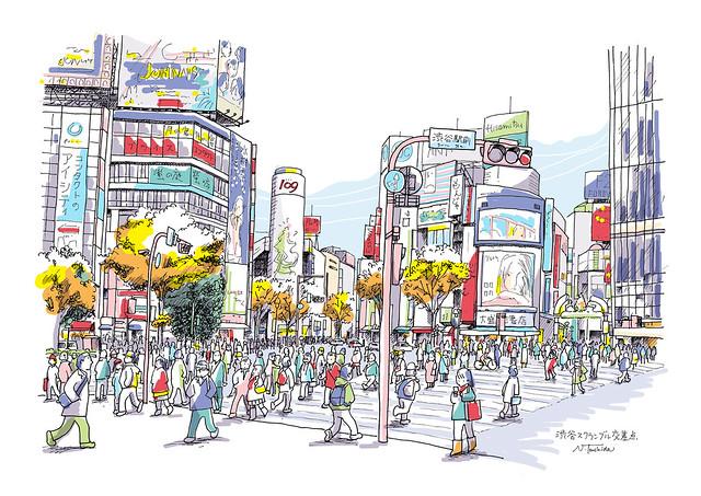 """渋谷スクランブル交差点 The """"scramble"""" crossing in Shibuya"""
