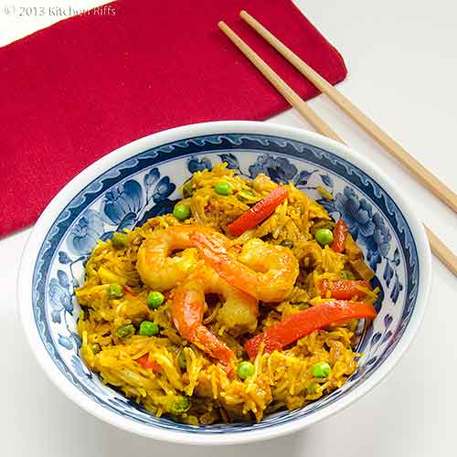 Singapore Noodles in Bowl with Chopsticks and Napkin