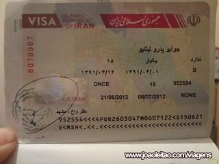 Visto do Irão feito à chegada VOA no passaporte