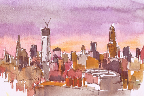 Sunset over the city, Brooklyn, NY