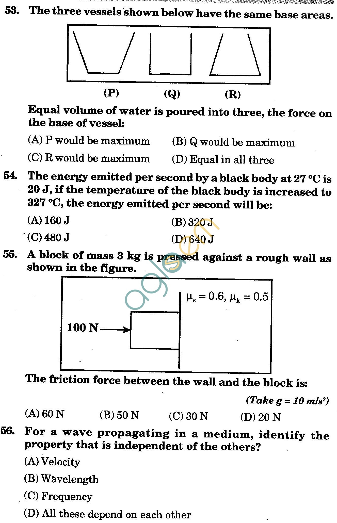 NSTSE 2009 Class XI PCM Question Paper with Answers - Physics