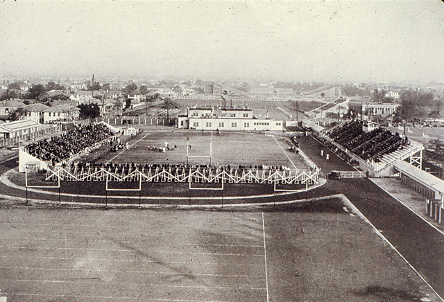 Loyola's football stadium before a second deck was added to the bleachers.