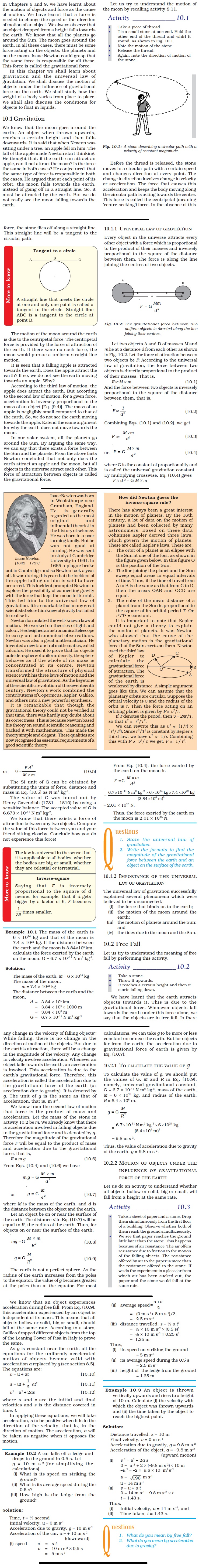 NCERT Class IX Science Chapter 10 Gravitation