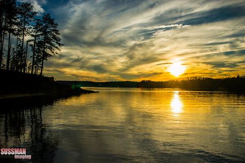 trees sunset sky lake reflection nature water silhouette clouds georgia gainesville lakelanier forsythcounty hallcounty thesussman sonyalphadslra550 sussmanimaging