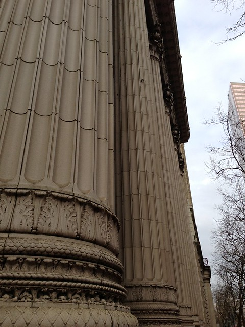 corinthian towers greek column architecture in downtown