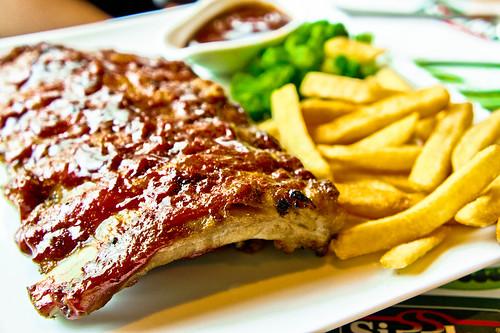 Pork Rib steak with fries
