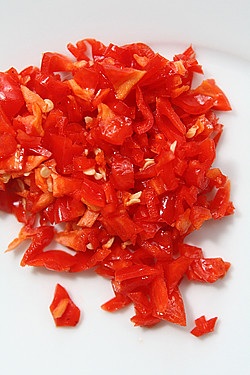 chopped peppers for shakshuka