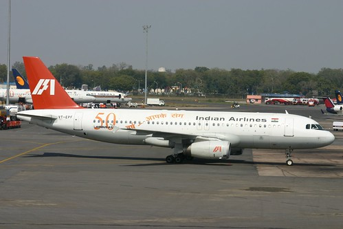 "VT-EPF Airbus A.320 Indian Airlines with ""50 Years Of Flying"" Titles"