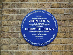 Photo of John Keats and Henry Stephens blue plaque