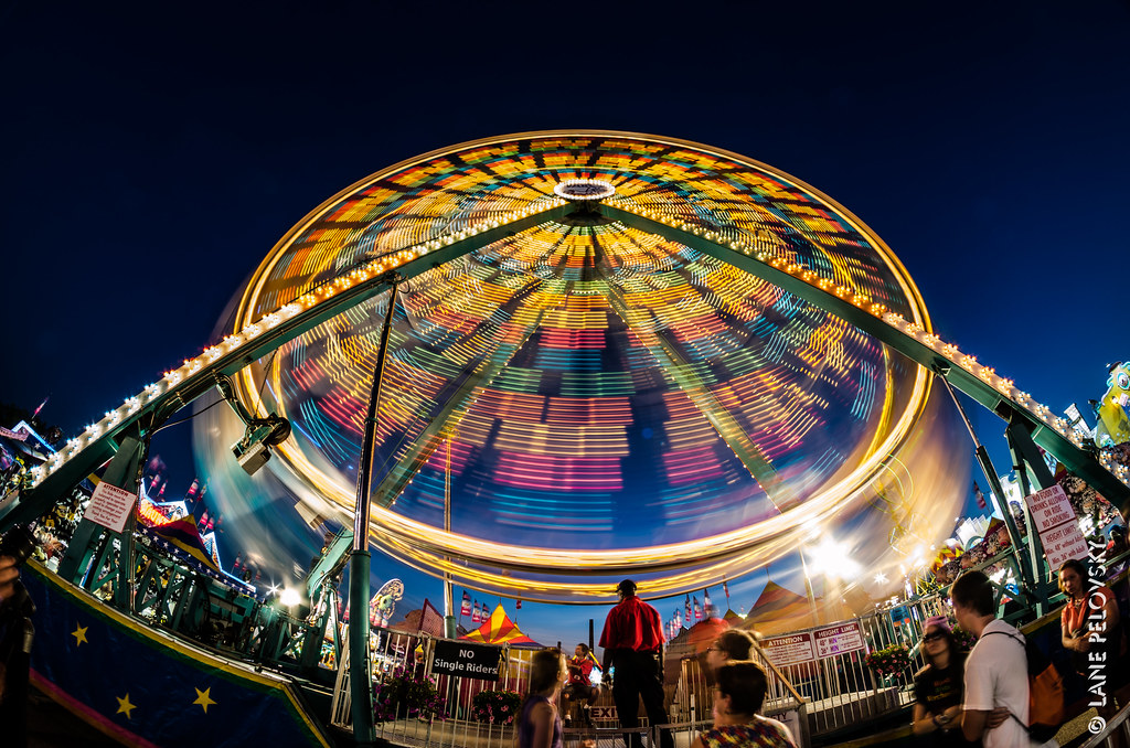 Minnesota State Fair midway at night
