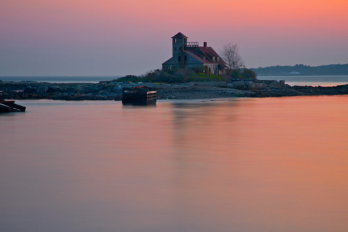 ocean longexposure sunset seascape color history rose landscape island scenery colorful peace maine newhampshire portsmouth kittery rosy lifesavingstation fortfoster woodisland takenin3layers
