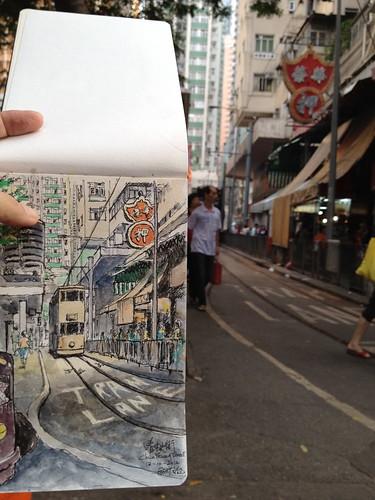 Sketching Tramway at Chun Yeung Street Sketching Tramway at Chun Yeung Street 春秧街電車軌