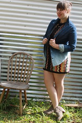 Ombré chambray outfit: Missoni for Target sweater dress, ombré chambray shirt, ankle boots, yellow belt