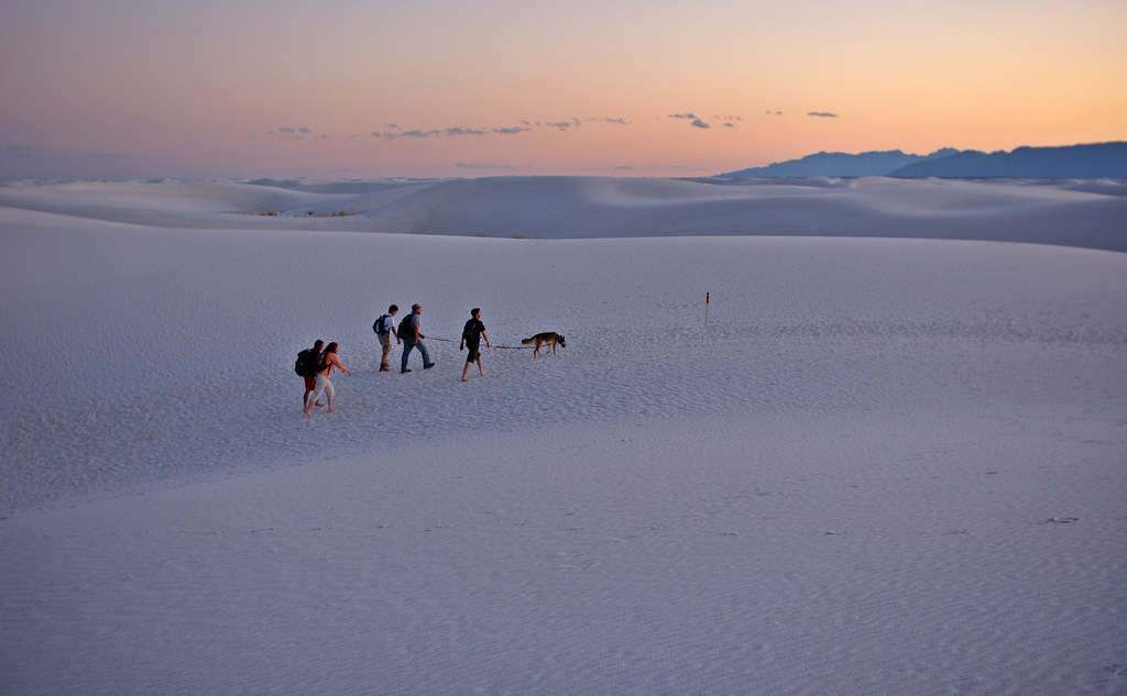 Twilight hiking at White Sands National Monument