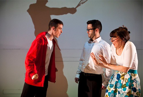 Trying To Haud Up Mrs Timmins -  James Young, James Mackenzie and Julie Brown as Sam, Uncle Herbie and Mrs Timmins. Photo: Eoin Carey