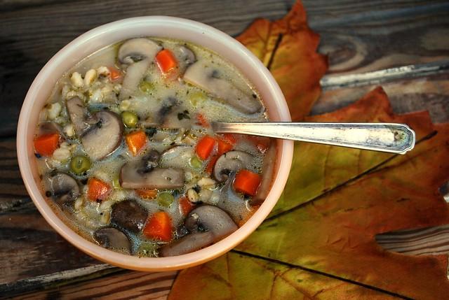 Mushroom Barley Veggie soup 1 rib