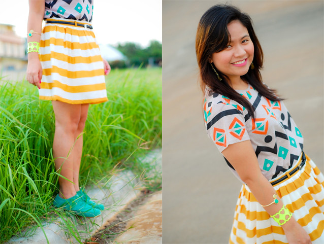 bright Yellow stripe skirt