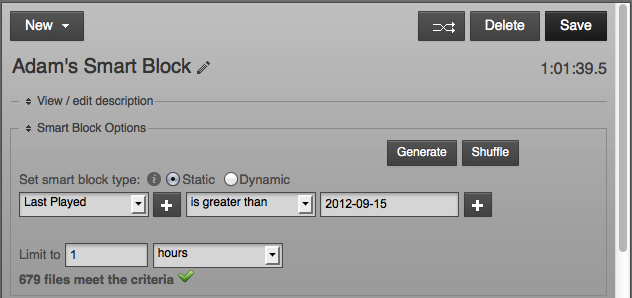 Smart Blocks build playlists dynamically from parameters you set