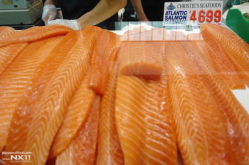 Sydney fish market salmon sashimi
