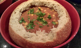 Bean and corn soup in a bread bowl