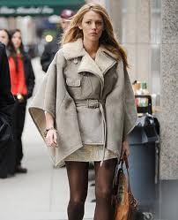 Blake Lively Cape Coat Celebrity Style Women's Fashion