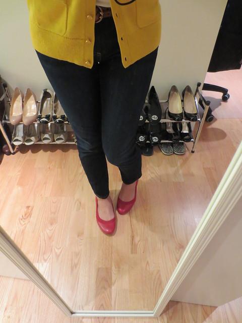 香蕉共和国Abby芭蕾平底鞋,火焰红色,sz 7(产品编号230422)