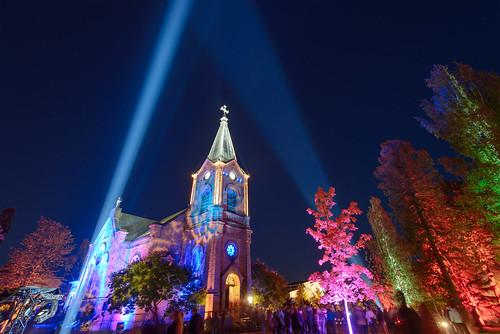 city light sky church night finland colorful long exposure cathedral clear event colourful 2012 valo valon katedraali kirkkopuisto jyväskylässä värikäs