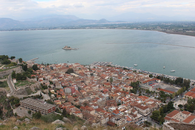 View of the old part of the city of Nafplio from Palamidi Fortress