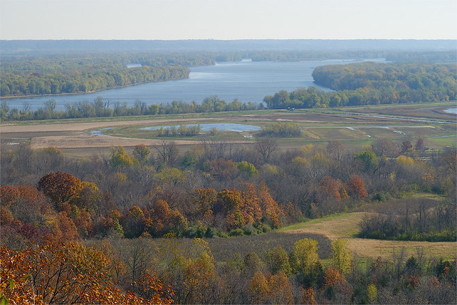 View of the Mississippi River, from scenic overlook at the Dupot Reservation Conservation Area, in Pike County, Missouri
