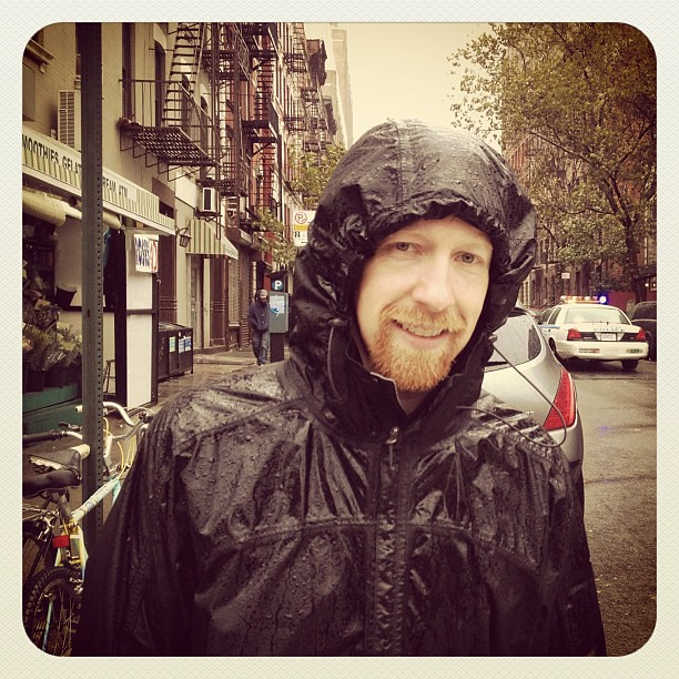 Windy city! Venturing out at the start of Sandy in the East Village NYC
