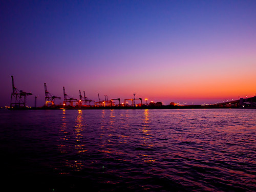 light sunset sea reflection japan night lumix landscapes osaka nightview icapture gf2