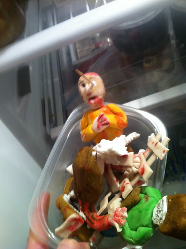 After the carnage, zombie fondant figures