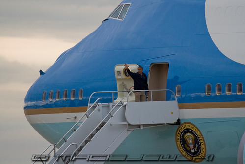 President Barack Obama boarding Air Force One