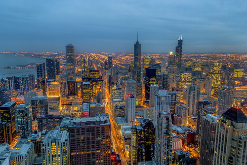 chicago tower skyline night downtown view sears hancock trump hdr willis photomatix