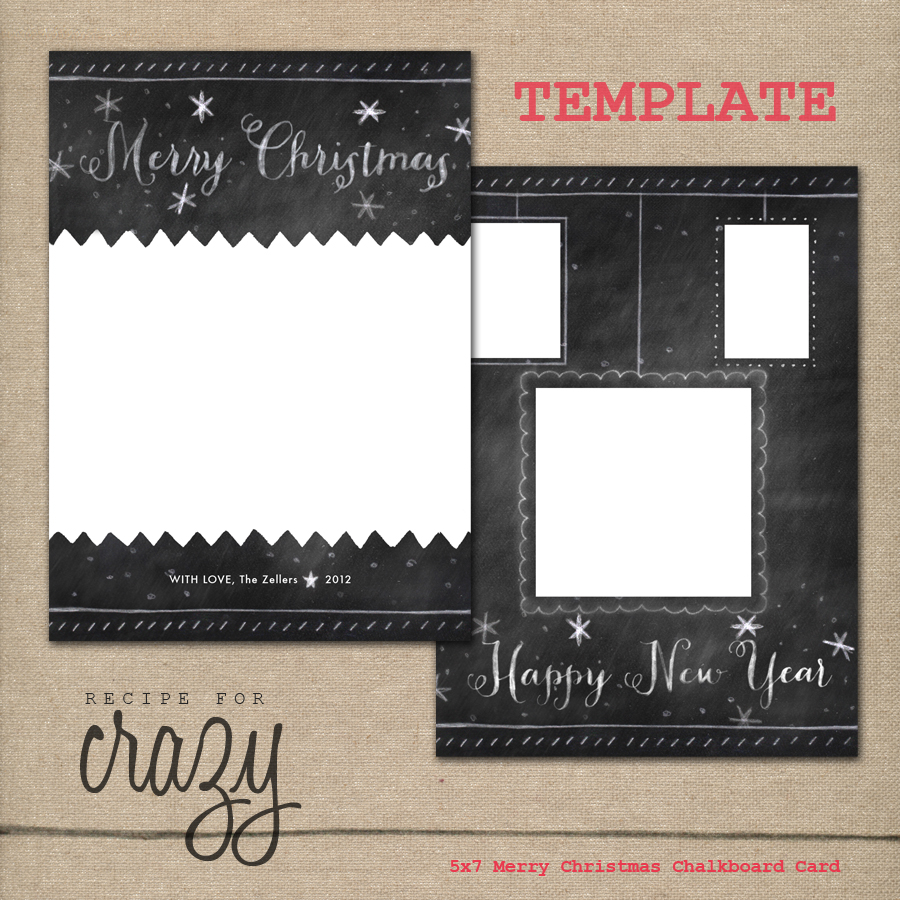 5x7 merry christmas chalkboard card template