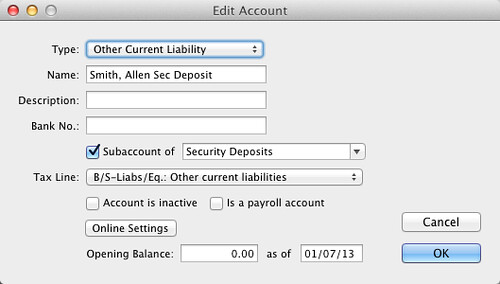 create security deposit account - partial deposits