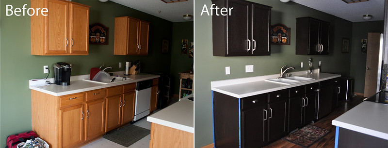 Kitchen before and after (gel staining of cabinets)