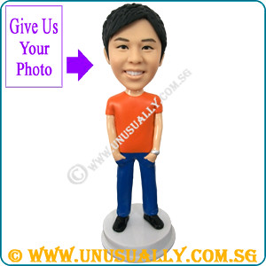 Custom 3D Unusually Male In Casual T-Shirt Smart Figurine - © www.unusually.com.sg